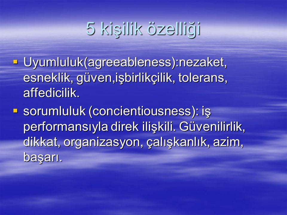 5 kişilik özelliği Uyumluluk(agreeableness):nezaket, esneklik, güven,işbirlikçilik, tolerans, affedicilik.