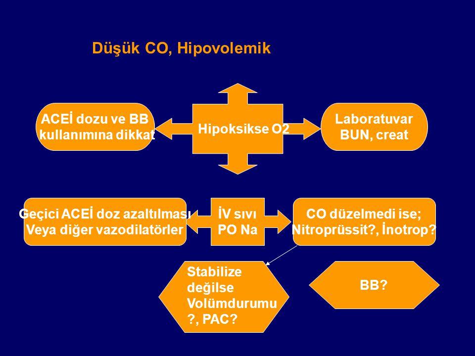Geçici ACEİ doz azaltılması Veya diğer vazodilatörler