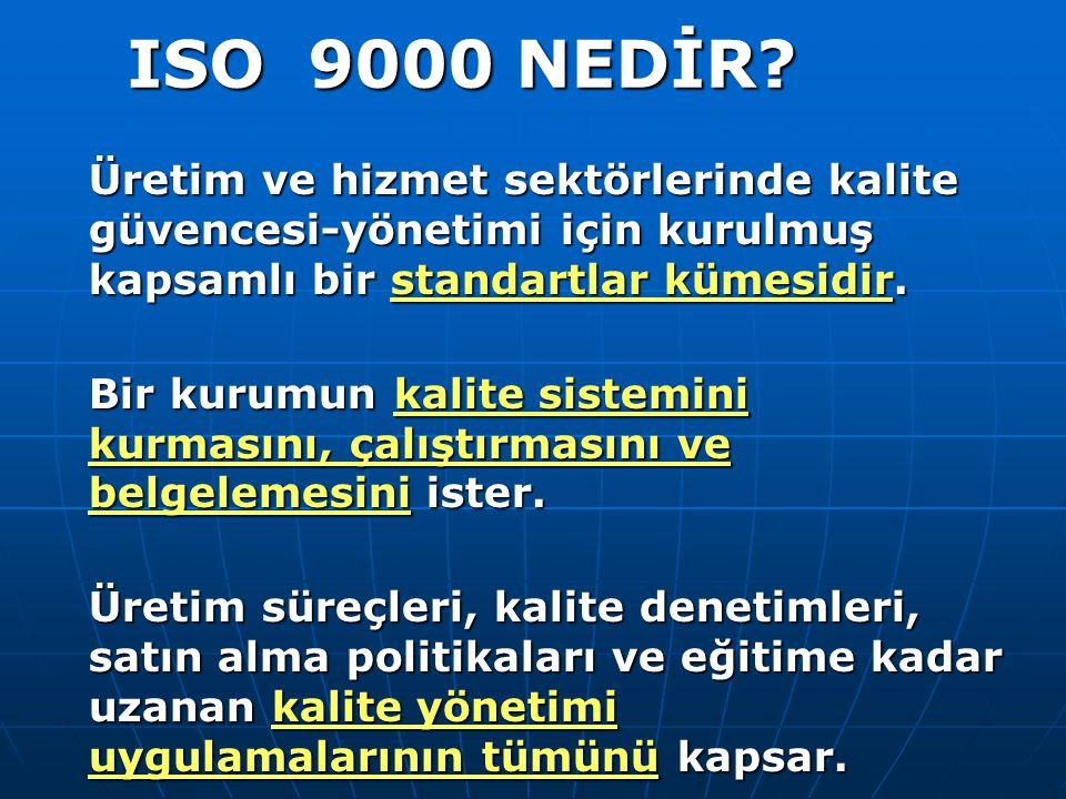 ISO 9000 NEDİR Üretim ve hizmet sektörlerinde kalite güvencesi-yönetimi için kurulmuş kapsamlı bir standartlar kümesidir.