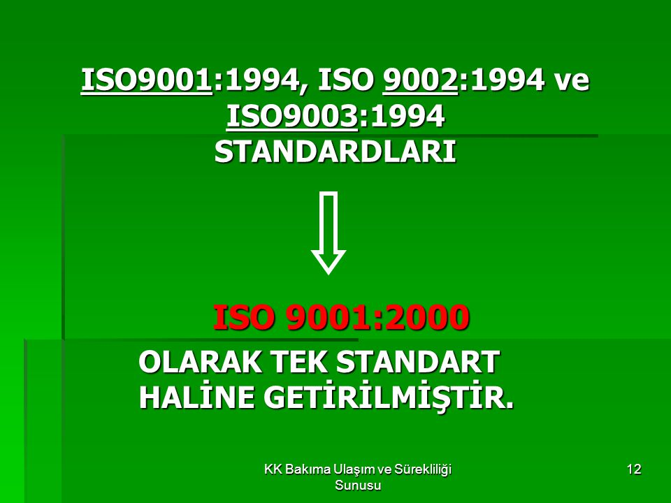 ISO9001:1994, ISO 9002:1994 ve ISO9003:1994 STANDARDLARI