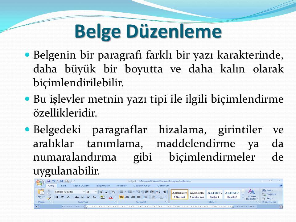 Belge Düzenleme Belgenin bir paragrafı farklı bir yazı karakterinde, daha büyük bir boyutta ve daha kalın olarak biçimlendirilebilir.