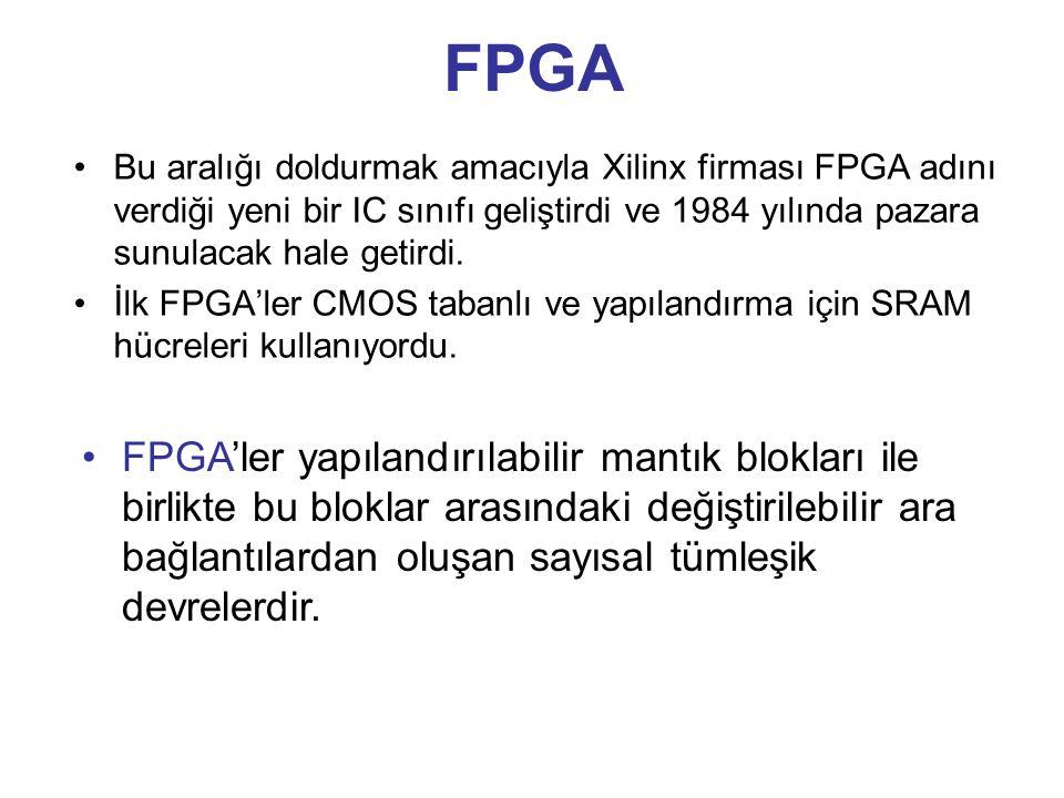 FPGA Bu aralığı doldurmak amacıyla Xilinx firması FPGA adını verdiği yeni bir IC sınıfı geliştirdi ve 1984 yılında pazara sunulacak hale getirdi.
