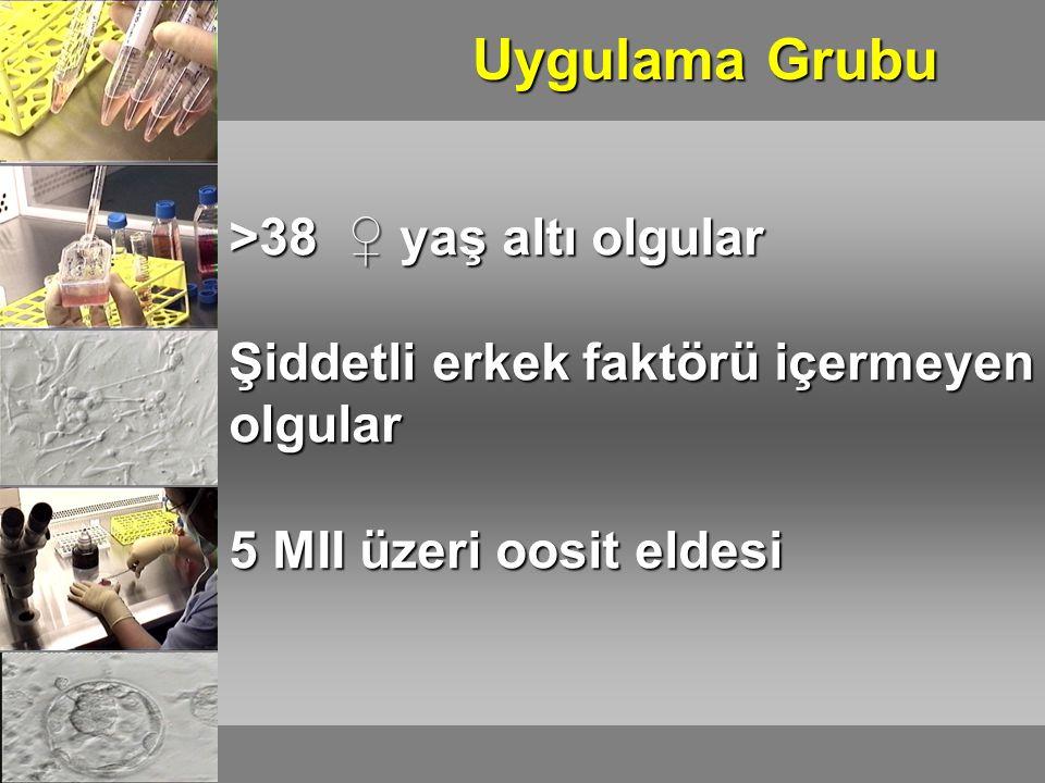 Uygulama Grubu >38 ♀ yaş altı olgular