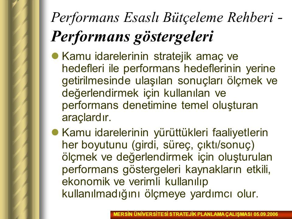 Performans Esaslı Bütçeleme Rehberi - Performans göstergeleri