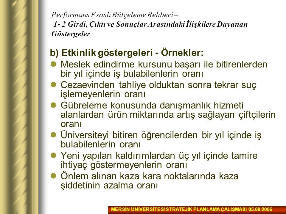 b) Etkinlik göstergeleri - Örnekler: