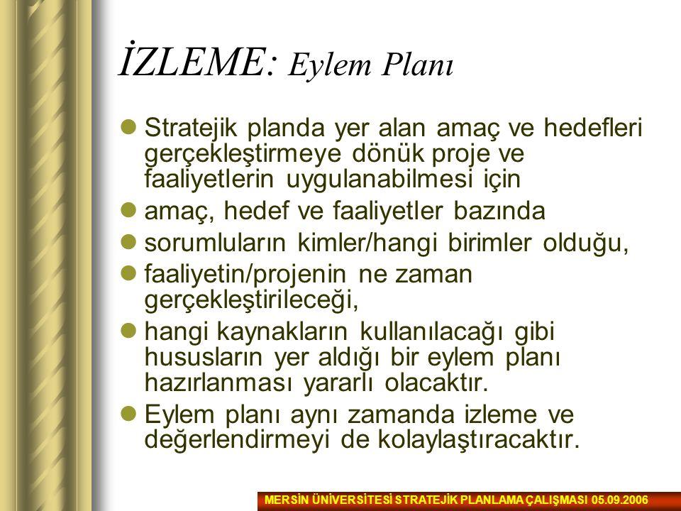 İZLEME: Eylem Planı Stratejik planda yer alan amaç ve hedefleri gerçekleştirmeye dönük proje ve faaliyetlerin uygulanabilmesi için.