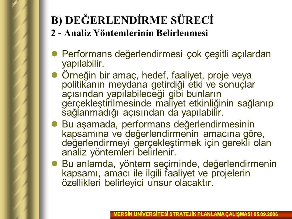 B) DEĞERLENDİRME SÜRECİ 2 - Analiz Yöntemlerinin Belirlenmesi