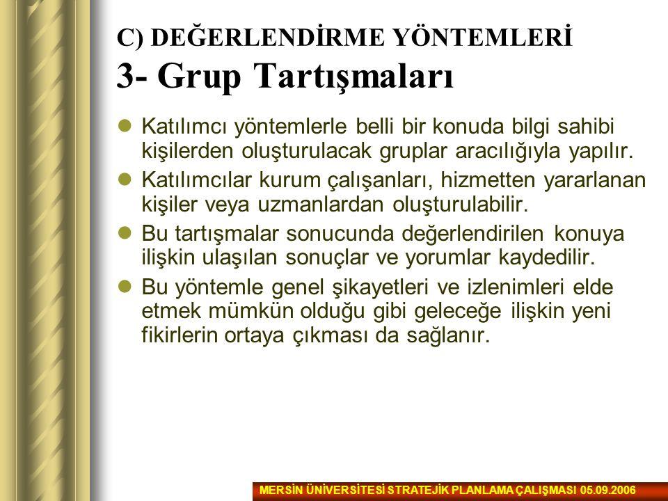 C) DEĞERLENDİRME YÖNTEMLERİ 3- Grup Tartışmaları