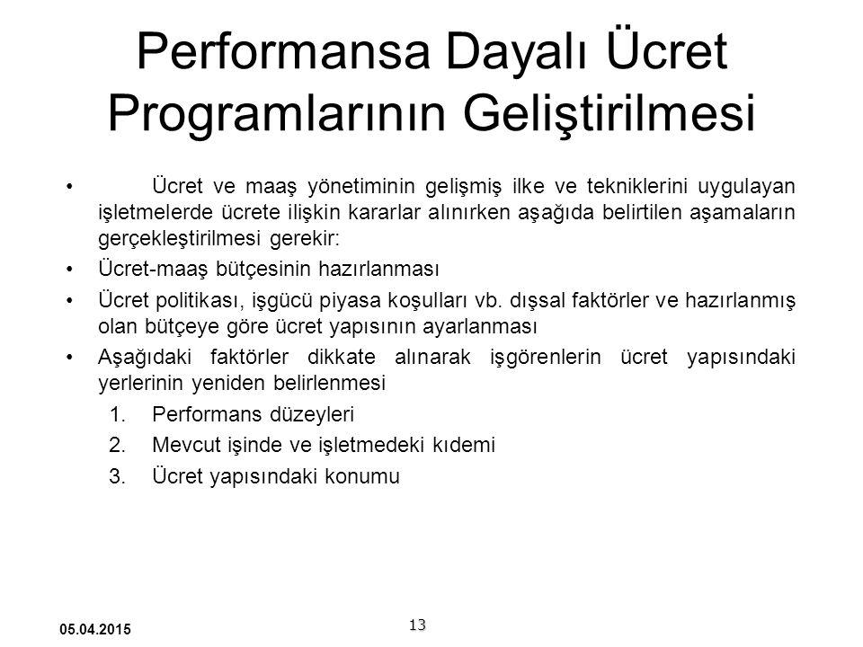 Performansa Dayalı Ücret Programlarının Geliştirilmesi