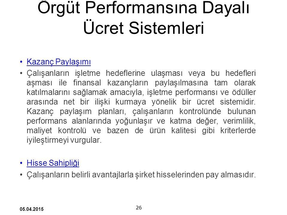 Örgüt Performansına Dayalı Ücret Sistemleri
