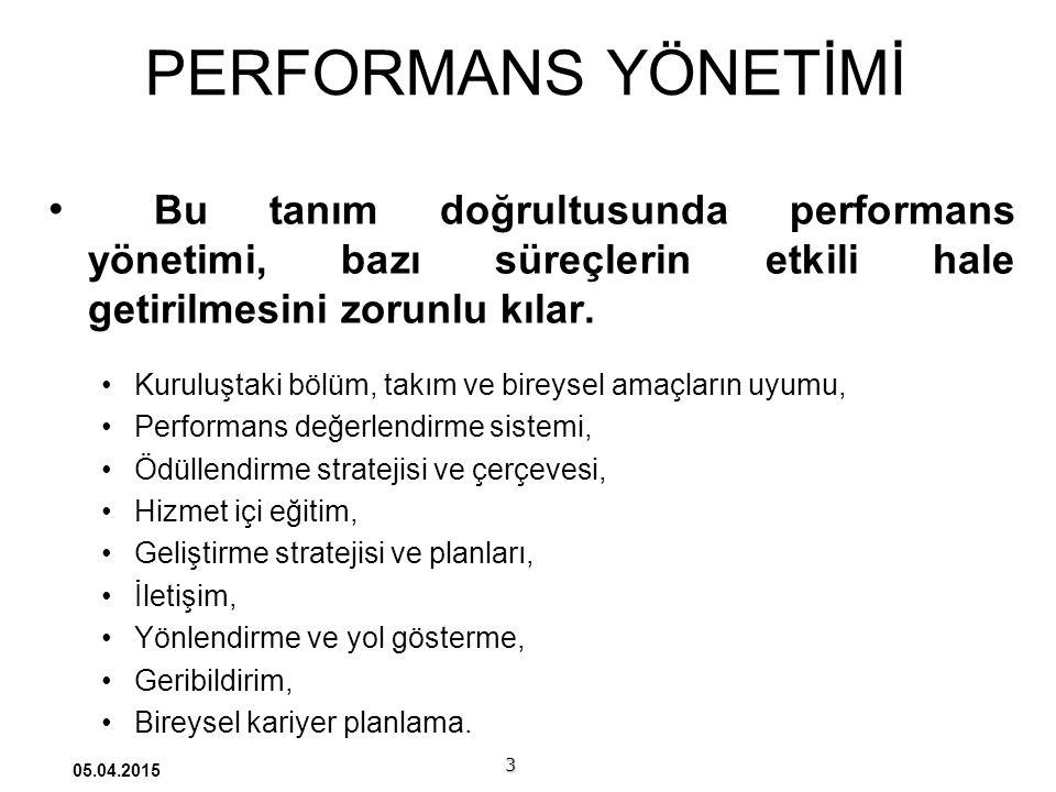 PERFORMANS YÖNETİMİ Bu tanım doğrultusunda performans yönetimi, bazı süreçlerin etkili hale getirilmesini zorunlu kılar.