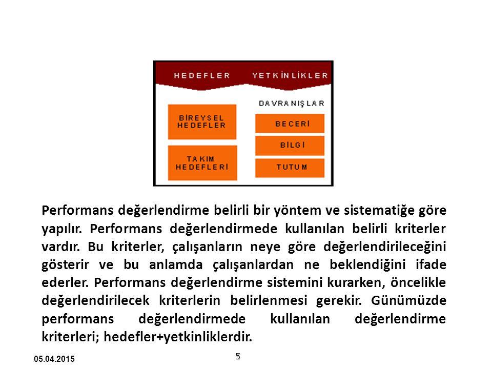 Performans değerlendirme belirli bir yöntem ve sistematiğe göre yapılır. Performans değerlendirmede kullanılan belirli kriterler vardır. Bu kriterler, çalışanların neye göre değerlendirileceğini gösterir ve bu anlamda çalışanlardan ne beklendiğini ifade ederler. Performans değerlendirme sistemini kurarken, öncelikle değerlendirilecek kriterlerin belirlenmesi gerekir. Günümüzde performans değerlendirmede kullanılan değerlendirme kriterleri; hedefler+yetkinliklerdir.