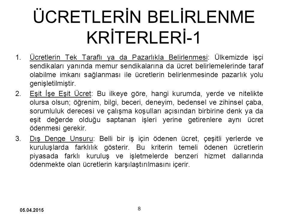 ÜCRETLERİN BELİRLENME KRİTERLERİ-1