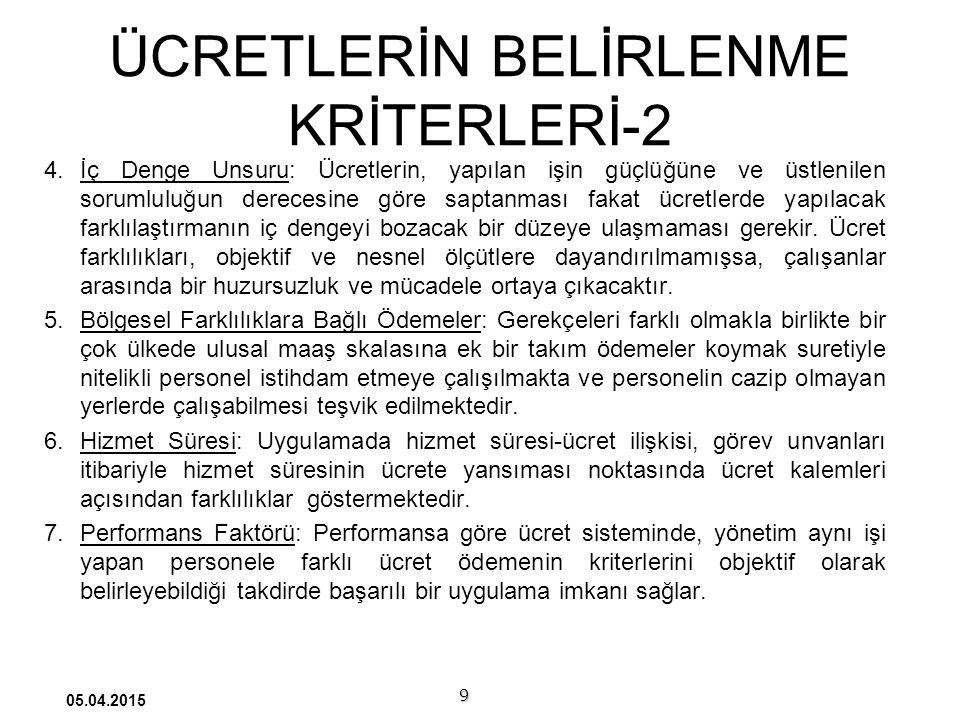 ÜCRETLERİN BELİRLENME KRİTERLERİ-2