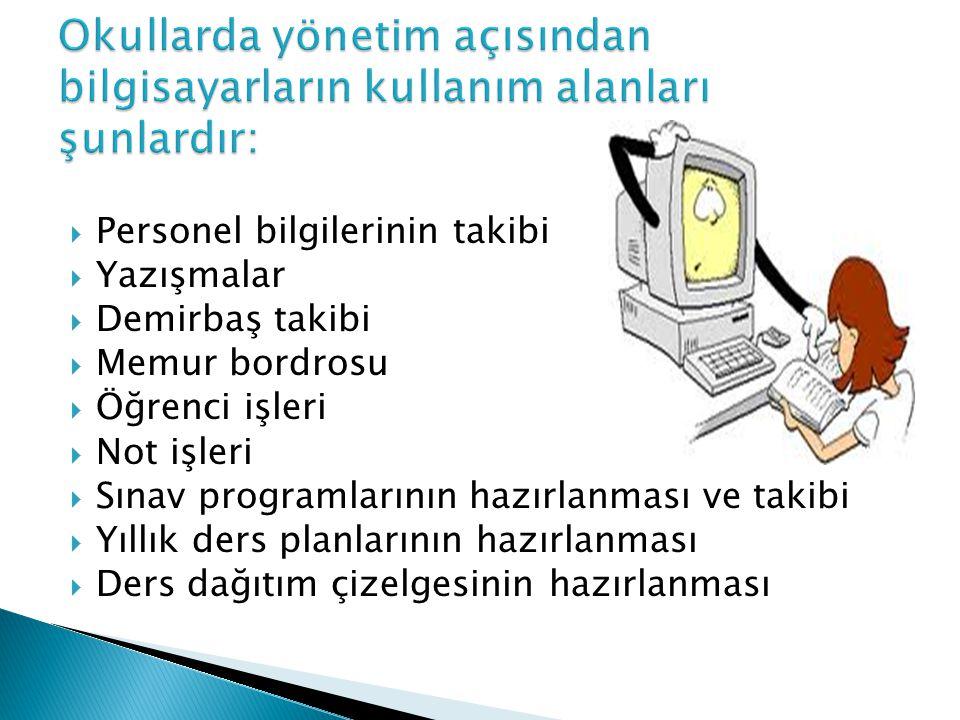 Okullarda yönetim açısından bilgisayarların kullanım alanları şunlardır: