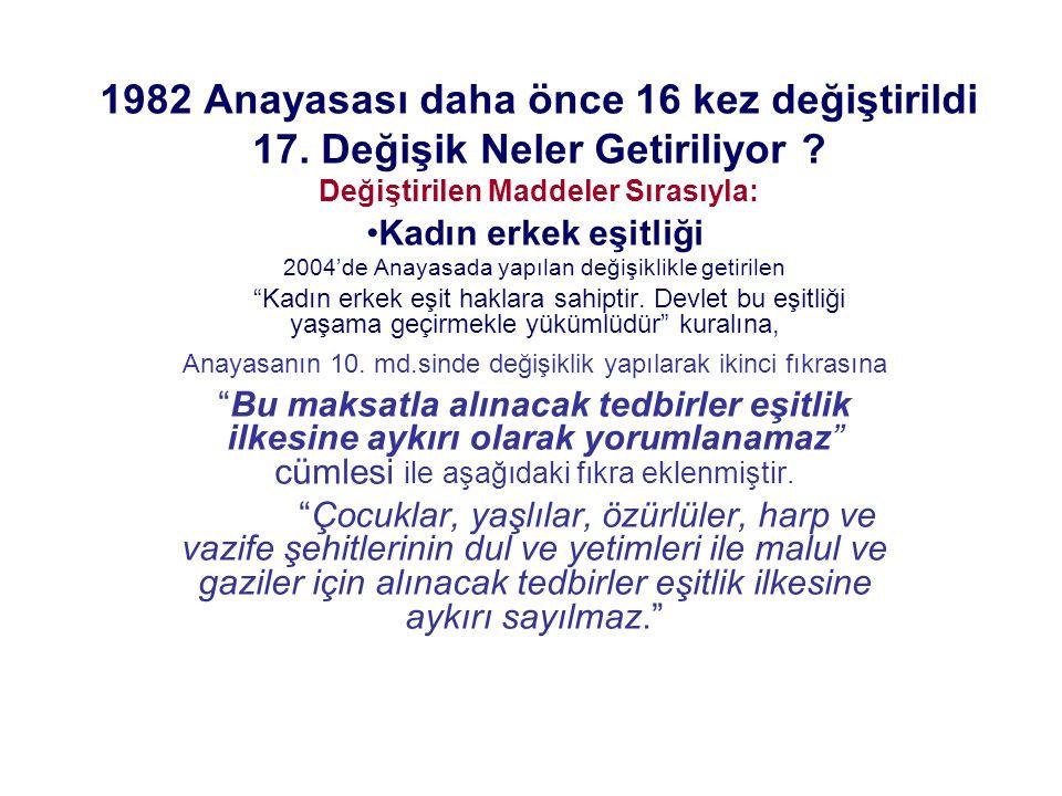 1982 Anayasası daha önce 16 kez değiştirildi 17