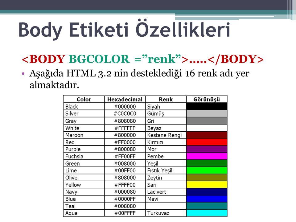 Body Etiketi Özellikleri