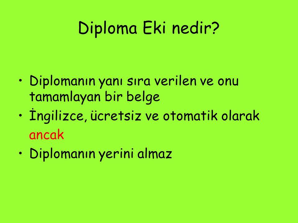 Diploma Eki nedir Diplomanın yanı sıra verilen ve onu tamamlayan bir belge. İngilizce, ücretsiz ve otomatik olarak.