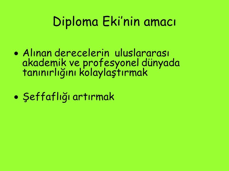 Diploma Eki'nin amacı Alınan derecelerin uluslararası akademik ve profesyonel dünyada tanınırlığını kolaylaştırmak.