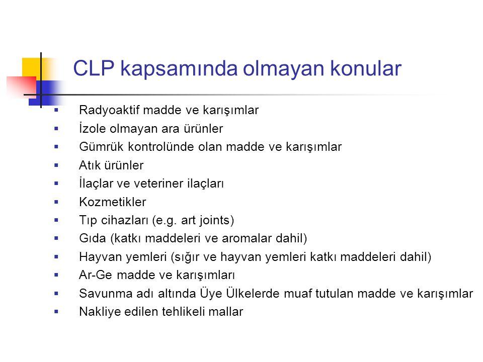 CLP kapsamında olmayan konular