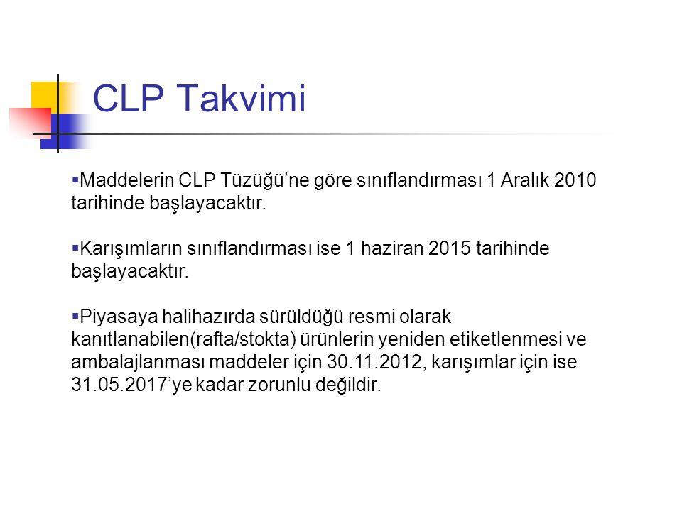 CLP Takvimi Maddelerin CLP Tüzüğü'ne göre sınıflandırması 1 Aralık 2010 tarihinde başlayacaktır.