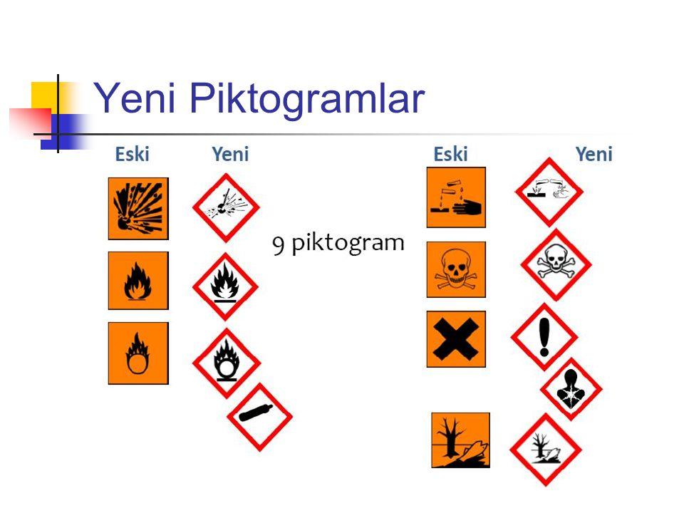 Yeni Piktogramlar - Kararsız patlayıcı -metaller için korozif,deri korozyonu, ciddi göz tahrişi.