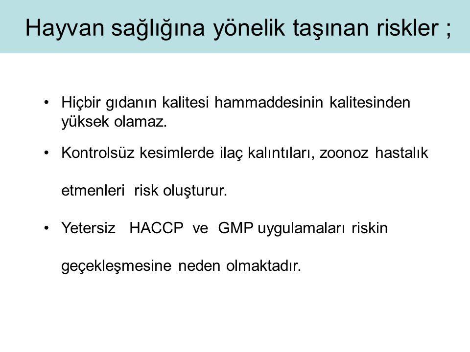 Hayvan sağlığına yönelik taşınan riskler ;