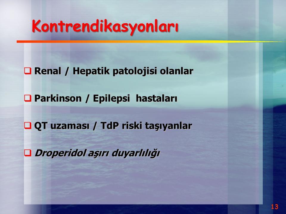 Kontrendikasyonları Renal / Hepatik patolojisi olanlar