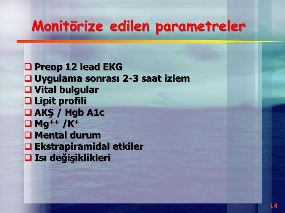 Monitörize edilen parametreler