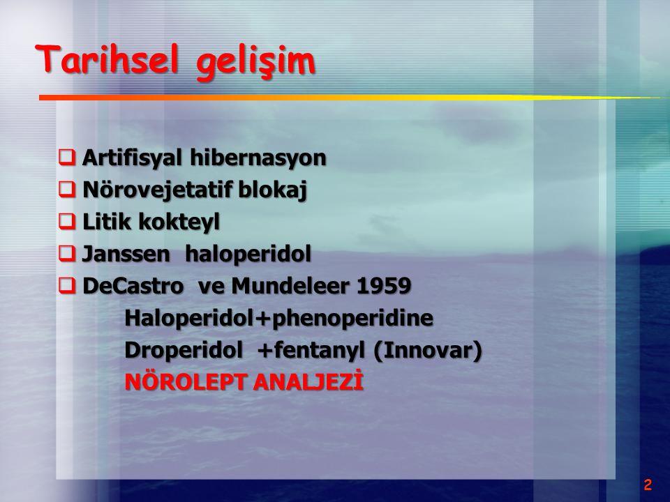 Tarihsel gelişim Artifisyal hibernasyon Nörovejetatif blokaj