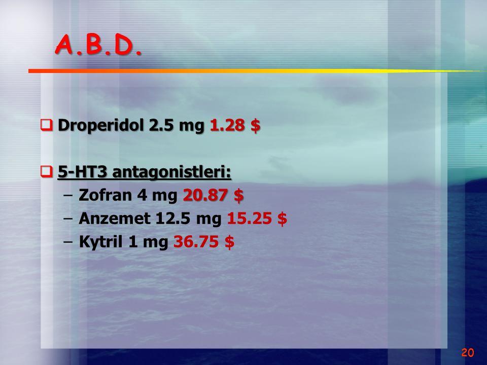 A.B.D. Droperidol 2.5 mg 1.28 $ 5-HT3 antagonistleri: