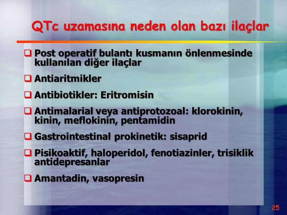 QTc uzamasına neden olan bazı ilaçlar
