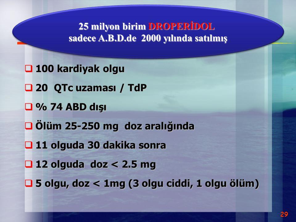 25 milyon birim DROPERİDOL sadece A.B.D.de 2000 yılında satılmış
