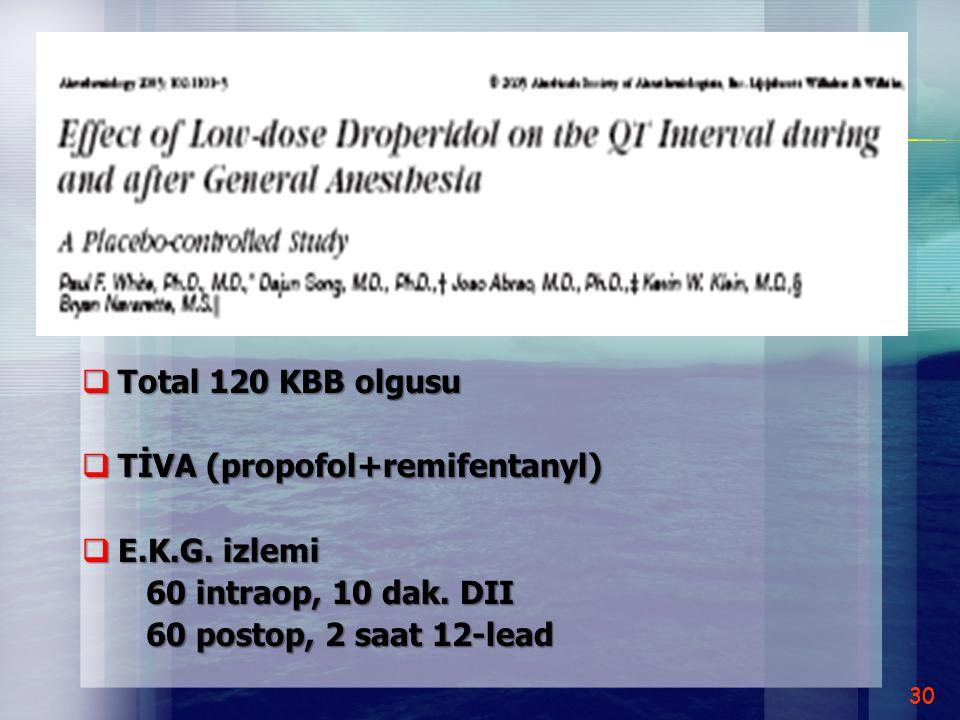 Total 120 KBB olgusu TİVA (propofol+remifentanyl) E.K.G.