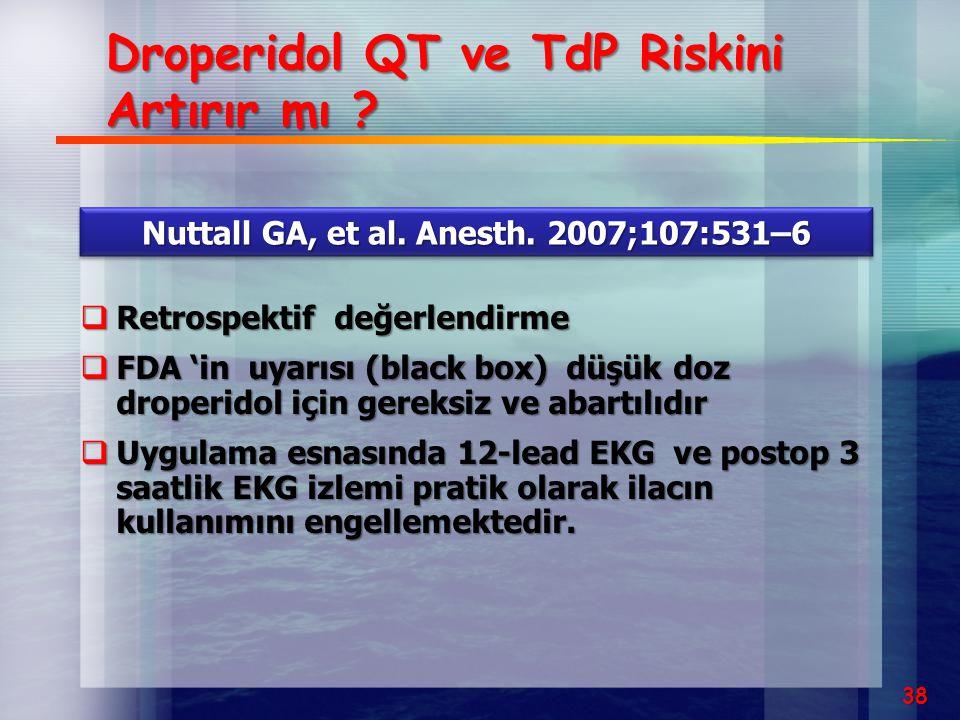 Droperidol QT ve TdP Riskini Artırır mı