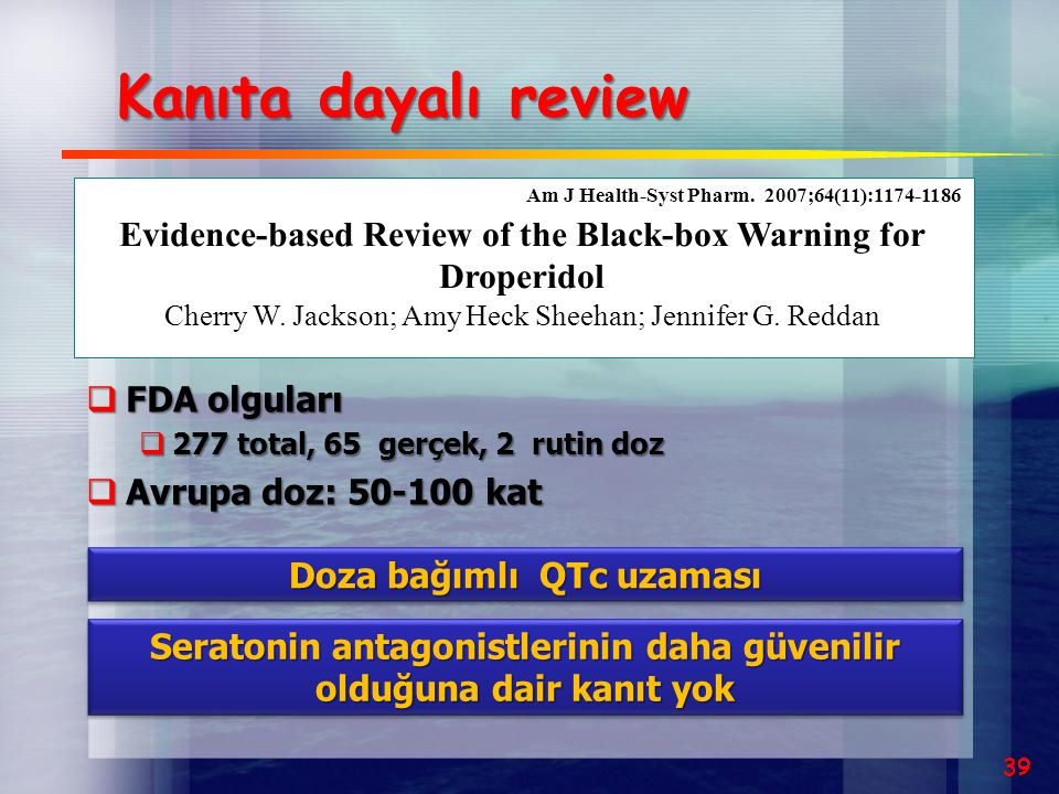 Evidence-based Review of the Black-box Warning for Droperidol