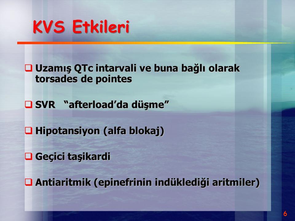 KVS Etkileri Uzamış QTc intarvali ve buna bağlı olarak torsades de pointes. SVR afterload'da düşme