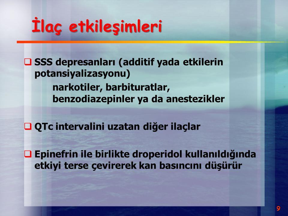 İlaç etkileşimleri SSS depresanları (additif yada etkilerin potansiyalizasyonu) narkotiler, barbituratlar, benzodiazepinler ya da anestezikler.