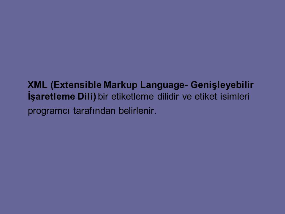 XML (Extensible Markup Language- Genişleyebilir İşaretleme Dili) bir etiketleme dilidir ve etiket isimleri programcı tarafından belirlenir.