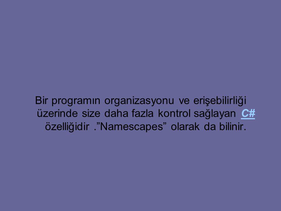Bir programın organizasyonu ve erişebilirliği üzerinde size daha fazla kontrol sağlayan C# özelliğidir . Namescapes olarak da bilinir.