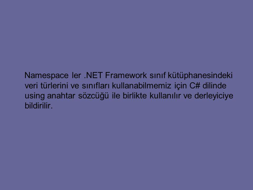 Namespace ler .NET Framework sınıf kütüphanesindeki veri türlerini ve sınıfları kullanabilmemiz için C# dilinde using anahtar sözcüğü ile birlikte kullanılır ve derleyiciye bildirilir.