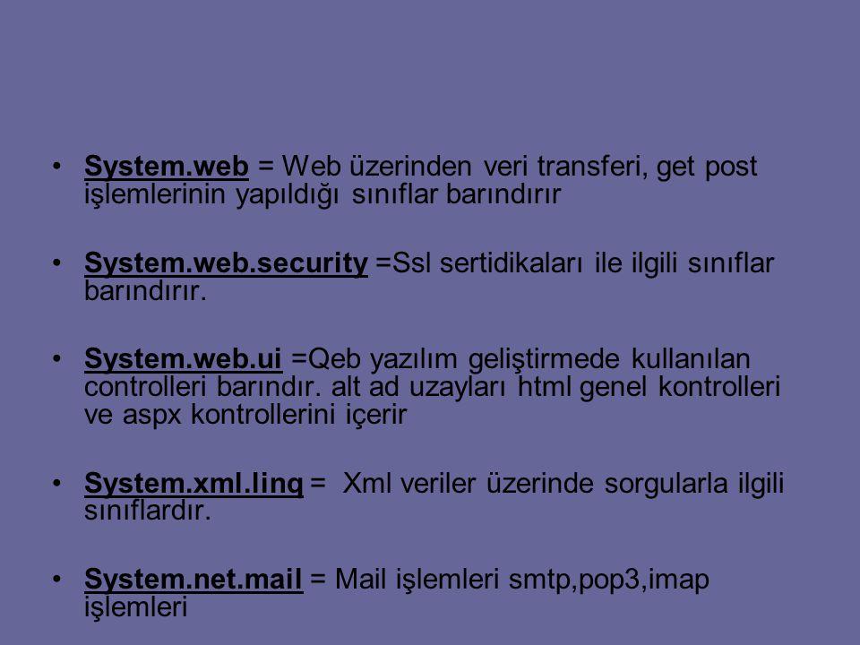 System.web = Web üzerinden veri transferi, get post işlemlerinin yapıldığı sınıflar barındırır