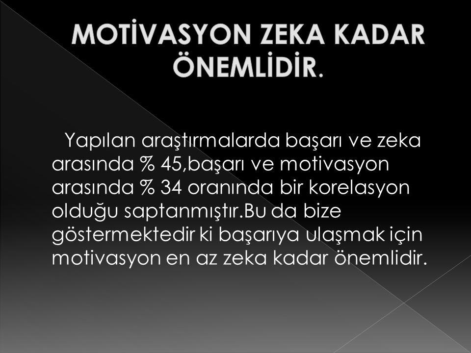 MOTİVASYON ZEKA KADAR ÖNEMLİDİR.