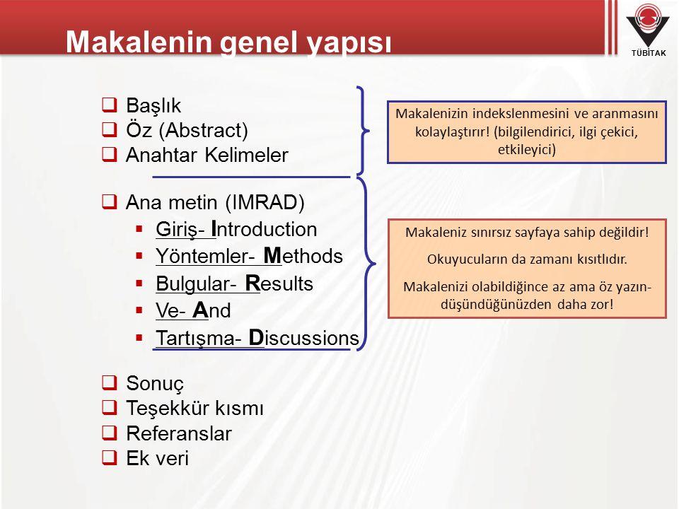 Makalenin genel yapısı