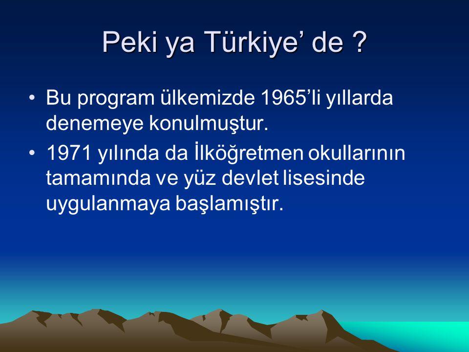 Peki ya Türkiye' de Bu program ülkemizde 1965'li yıllarda denemeye konulmuştur.