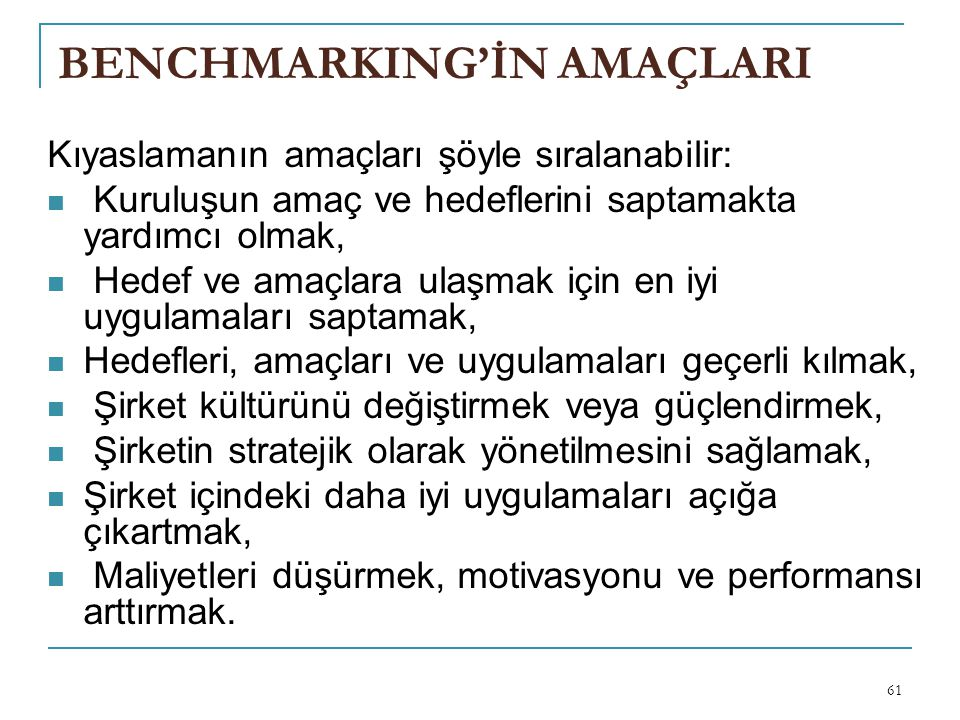 BENCHMARKING'İN AMAÇLARI