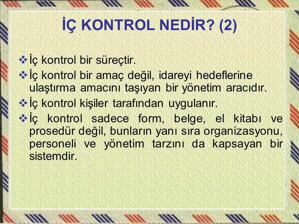 İÇ KONTROL NEDİR (2) İç kontrol bir süreçtir.