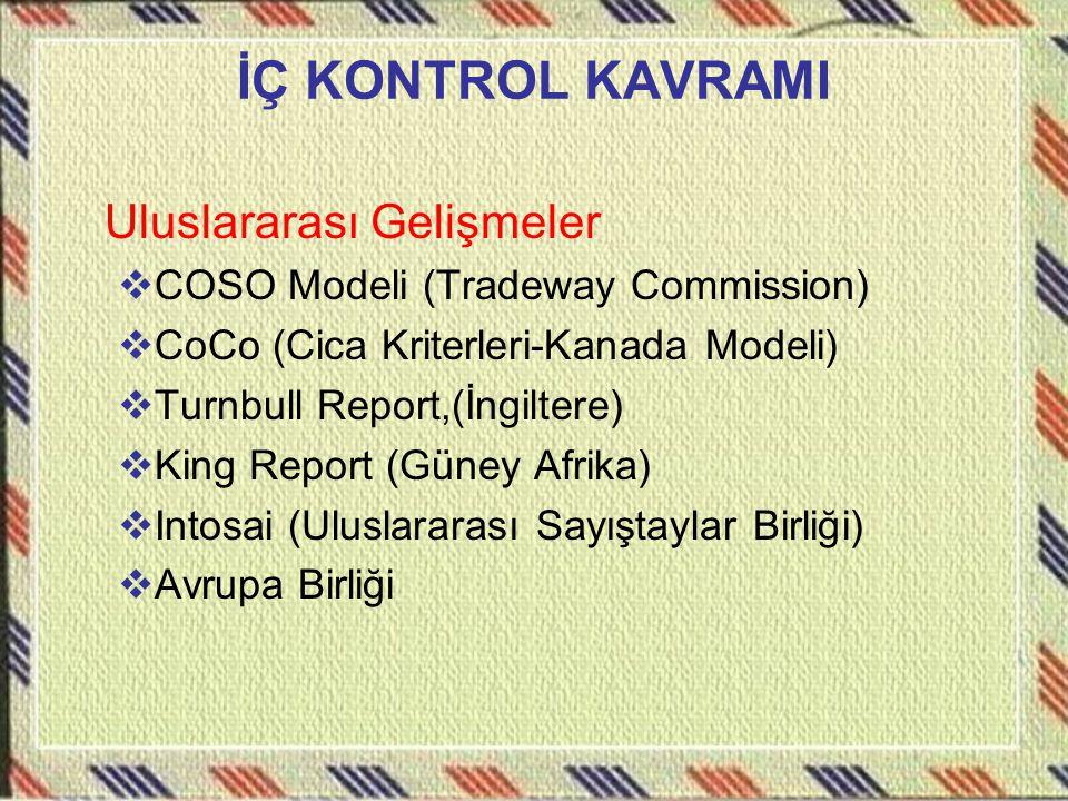 İÇ KONTROL KAVRAMI Uluslararası Gelişmeler