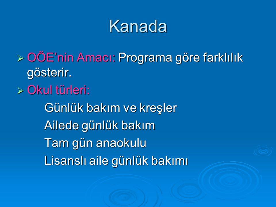 Kanada OÖE'nin Amacı: Programa göre farklılık gösterir. Okul türleri: