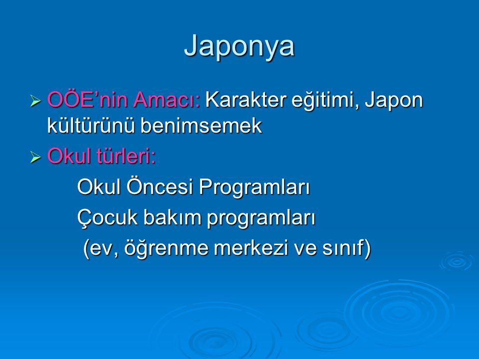 Japonya OÖE'nin Amacı: Karakter eğitimi, Japon kültürünü benimsemek